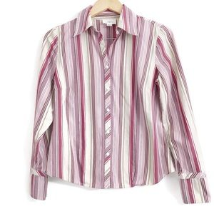 Ann Taylor Loft Stripe Button Down Shirt O0299